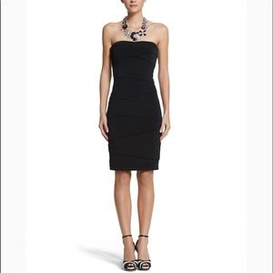 White House black strapless tube dress w bow